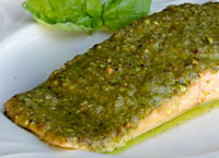 Baked Salmon with Pistachio Basil Butter
