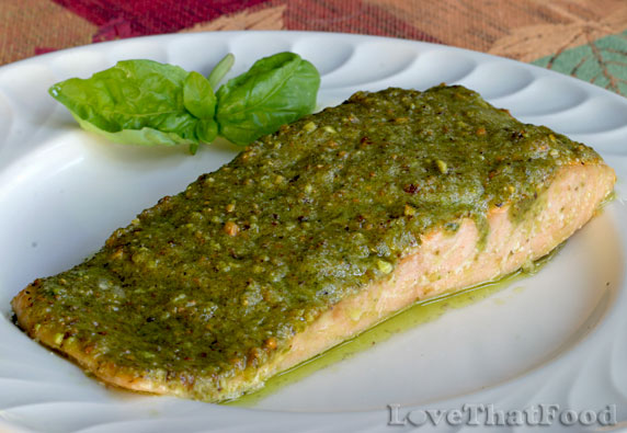 Salmon with Pistachio Basil Butter