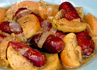 Cider-Braised Sausages with Apples