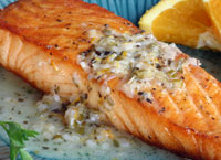 Broiled Salmon with Orange Butter Sauce
