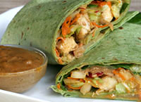 Chicken Wraps with Asian Peanut Sauce