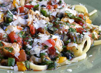 Chicken Linguine with Chili Herb Salsa