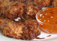 Coconut Crusted Chicken with Apricot Dipping Sauce