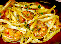 Lemon Garlic Shrimp with Fettuccine