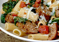 Rigatoni Barese with Spinach and Sausage
