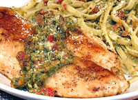 Pesto Chicken with Linguine & Sun-Dried Tomatoes