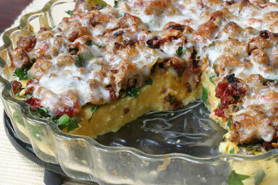 Polenta Pie with Sausage, Spinach and Sun-Dried Tomatoes Recipe with ...